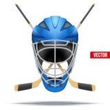 Ice hockey symbol. Design elements. Ice hockey symbol with goalie helmet and sticks. Design elements. Illustration  on white background Royalty Free Stock Image