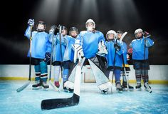 Ice hockey team standing in line on the rink stock images