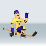 Ice hockey team sweden player vector illustration