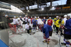 Ice hockey training Stock Photos