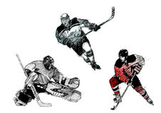 Ice hockey trio Royalty Free Stock Photo