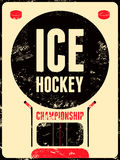 Ice Hockey typographical vintage grunge style poster. Retro vector illustration. Royalty Free Stock Photography