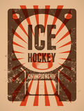 Ice Hockey typographical vintage grunge style poster. Retro vector illustration. Stock Photos
