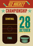 Ice Hockey typographical vintage style poster. Retro vector illustration. Royalty Free Stock Photos