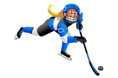 Isolated Hockey Vector Girl Player. Ice hockey vector cartoon clipart. Winter sports background with hockey athlete playing winter olympics competition. 3D flat Stock Photography