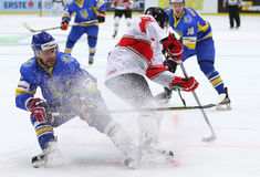 Ice Hockey 2017 World Championship Div 1 in Kiev, Ukraine. KYIV, UKRAINE - APRIL 22, 2017: Igor KUGUT of Ukraine L fights for a puck with Janos HARI of Hungary Royalty Free Stock Photography
