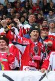 Ice Hockey 2017 World Championship Div 1 in Kyiv, Ukraine. KYIV, UKRAINE - APRIL 25, 2017: Austrian fans show their support during IIHF 2017 Ice Hockey World Royalty Free Stock Image