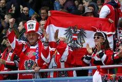 Ice Hockey 2017 World Championship Div 1 in Kyiv, Ukraine. KYIV, UKRAINE - APRIL 25, 2017: Austrian fans show their support during IIHF 2017 Ice Hockey World Royalty Free Stock Images