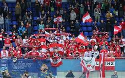Ice Hockey 2017 World Championship Div 1 in Kyiv, Ukraine. KYIV, UKRAINE - APRIL 25, 2017: Austrian fans show their support during IIHF 2017 Ice Hockey World Stock Photos