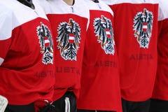 Ice Hockey 2017 World Championship Div 1 in Kyiv, Ukraine. KYIV, UKRAINE - APRIL 25, 2017: Close-up details of Austrian players jerseys seen during the IIHF 2017 Royalty Free Stock Photo