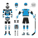Ice hokey uniform. Hockey uniform set. Vector hockey uniform in flat style. Isolated hockey uniform on white background. Hockey uniform template. Hockey stock photos
