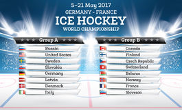 Ice Hokey World Championship 2017. List of Countries with Spotlights. Vector Illustration Royalty Free Stock Photography