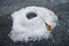 Ice hole for fishing Royalty Free Stock Images
