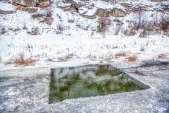Ice hole royalty free stock photography