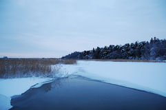 Ice-hole in a lake. Winter landscape with ice-hole in a lake stock photos