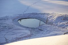 Ice hole in the lake in winter is equipped with a ladder for launching.  royalty free stock photo