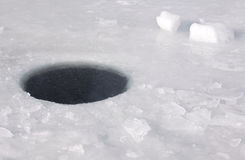 Ice-hole. A hole in a river ice Stock Photos
