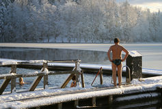Ice-hole swimming in winter. Ice-hole swimming in Finland Stock Photos