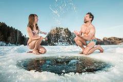 Ice hole swimming Royalty Free Stock Photos