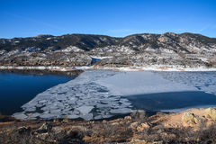 Ice on Horsetooth Reservoir, Fort Collins, Colorado Stock Photos