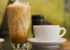 Ice and hot coffee late Royalty Free Stock Photo