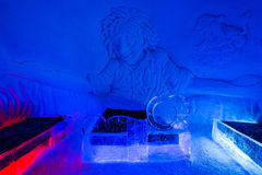 Ice hotel suite in Lainio snow village in Yllasjar Stock Image