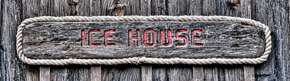 Ice House Antique Weathered Wood Sign  Stock Photography