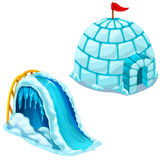 Ice house Igloo and childrens ice slide. Vector. Ice house and ice slide. Igloo of ice with flag and childrens slide. Vector illustration isolated on white stock illustration