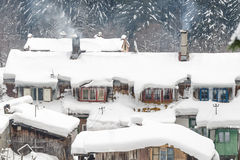 Ice houses. Houses snowy and frozen in a mountain resort, Romania royalty free stock photography