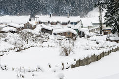 Ice houses. Houses snowy and frozen in a mountain resort, Romania stock images