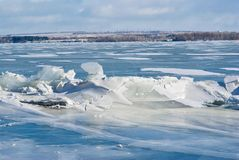 Ice hummock on a river. Royalty Free Stock Images