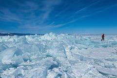 Ice hummocks on the frozen Baikal lake in Siberia,Russia Royalty Free Stock Image