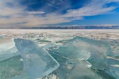 Ice hummocks on the frozen Lake Baikal Royalty Free Stock Image