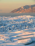 Ice hummocks on Lake Baikal Stock Photo