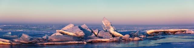 Ice hummocks on the Lake Balkhash, Kazakhstan Royalty Free Stock Image