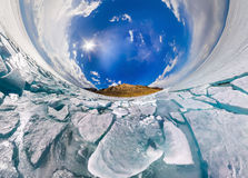 Ice hummocks in polar spherical projection of little planet Royalty Free Stock Images