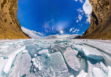 Ice hummocks in polar spherical projection of little planet Royalty Free Stock Image