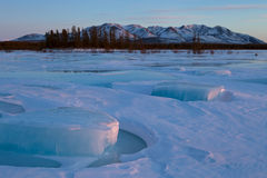 Ice hummocks on the river. Royalty Free Stock Photography