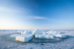 Ice hummocks  in the sea Stock Photography
