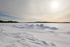 Ice hummocks on winter coast Stock Images