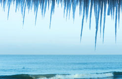 Ice icicle, winter, cold, snow, sea Stock Image