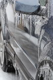 Ice. Icicles formed on the car during a freeze stock photo