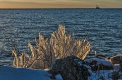 Sunset with Ice on Lake Michigan Royalty Free Stock Photography
