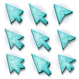 Ice Icons, Cursor And Arrows. Illustration of a set of funny cartoon design ice computer icons, cursor and arrows signs for funny ui game environment Royalty Free Stock Image