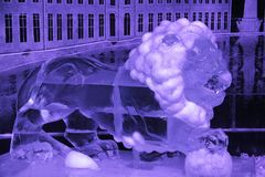 Ice installation of animal lion royalty free stock photo