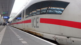 ICE Intercity-Express High Speed train. Leaving Utrecht Central Station. This ICE runs a service between the cities of Amsterdam, Cologne and Frankfurt stock video