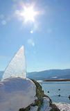 Ice jag at the lakeside of tegernsee, bright sun Stock Photos
