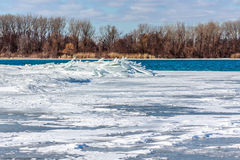 Ice Jam on Detroit River Stock Photography