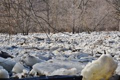 Ice jam on Humber River at first weir Stock Photo
