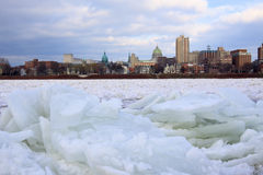 Ice Jam on River Royalty Free Stock Photo